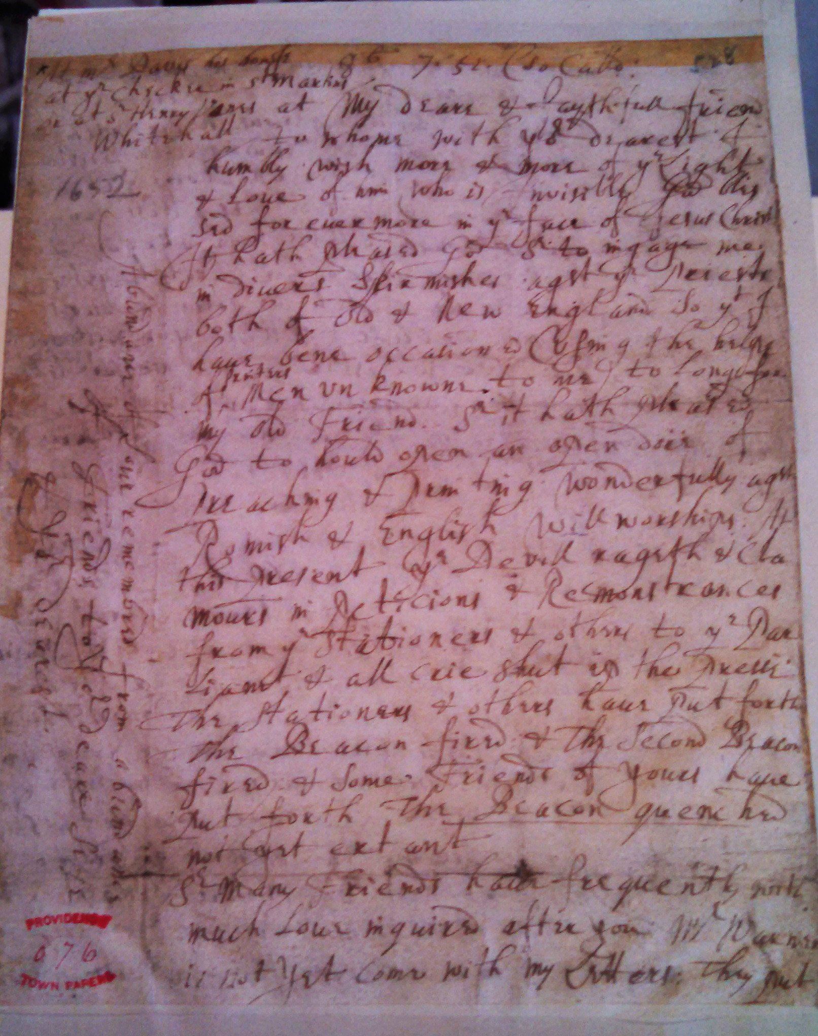roger williams letter to the town of providence